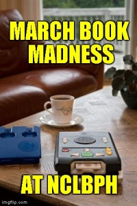 "A coffee table with a cup of coffee and a digital talking player and cartridge. The words ""March book madness at nc lbph"" are shown on top of these things."