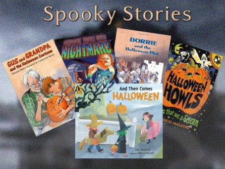 "A blurred out haunted house in a swampy environment is the background. The upper half has written, ""Spooky Stories"". On the lower half are arranged book covers."