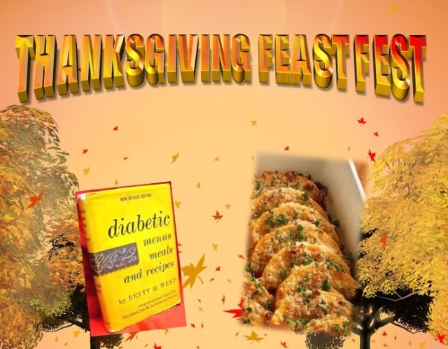 In orange and red letters the top of the image says Thanksgiving Feast Fest, the sun sets behind trees, a picture of book and fried squash are front and center.
