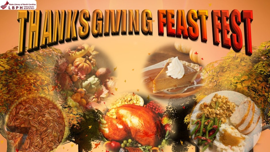 In orange and red letters the top of the image says Thanksgiving Feast Fest, the sun sets behind trees and there a images of different traditional thanksgiving dishes such as turkey, pies and vegetables.