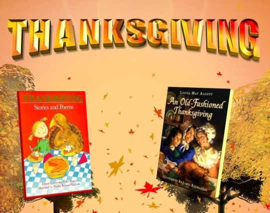 In orange and red letters the top of the image says Thanksgiving Feast Fest, the sun sets behind trees, a picture of books are displayed across from each other.