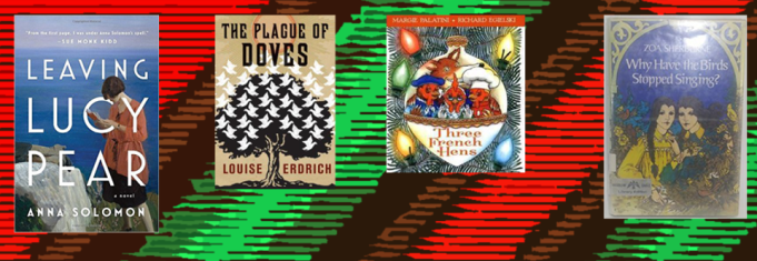 Book covers of the first four books mentioned on the list from left to right on a green and red background