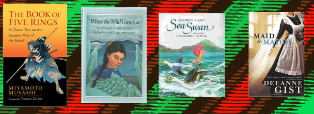Book covers of days 5 through 8 mentioned on the list from left to right on a green and red background