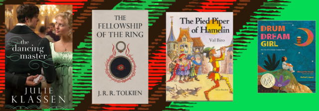 Book covers of days 9 through 12 mentioned on the list from left to right on a green and red background