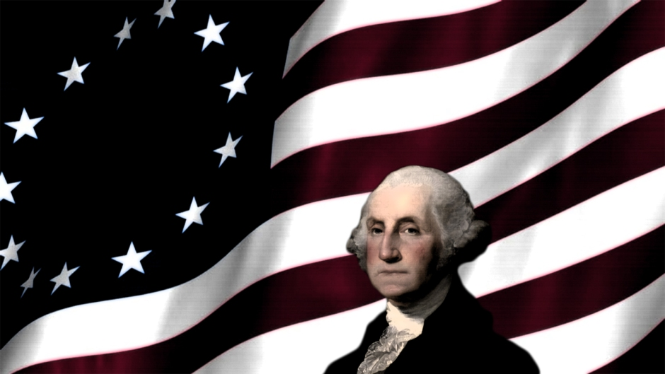 George Washington and the 13 star version of the American Flag behind him.