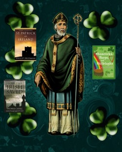 A painting of Saint Patrick is in the center in front of a blueish green background. Surrounding him are five shamrocks and the covers for 3 of the books on the list.