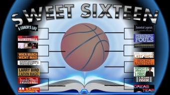"The image is labeled ""SWEET SIXTEEN"", there is a basketball above an open book. On each side of the basketball there are tournament brackets of the 16 book titles on this list."