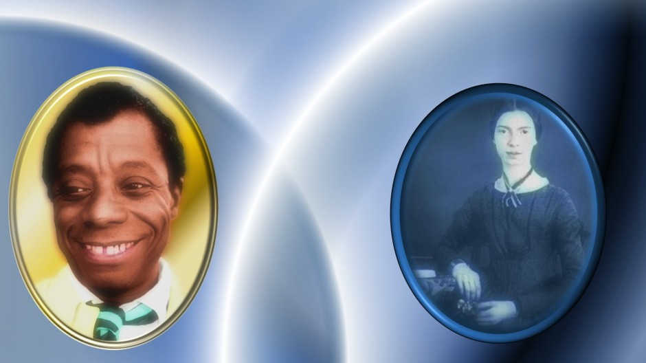 Portraits of James Baldwin and Emily Dickinson next to each other. The background is blue with overlapping glowing white rings