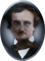 A portrait of Poe in an oval frame