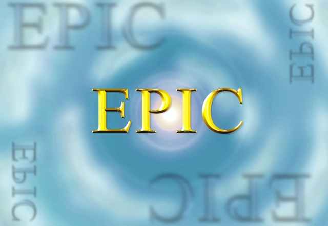 The word EPIC appears in gold letters surrounded by blurry faded EPIC in the 4 corners of the image. The background is the sun in the sky in the center of the image and clouds spiraling upwards to the sun.