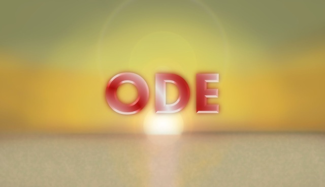 "The word ""Ode"" is front and center in red and white letters. The background is the rising sun reflecting on the ocean."