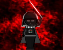 A depiction of Darth Vader holding his glowing red light saber. The background is a dark red mist.