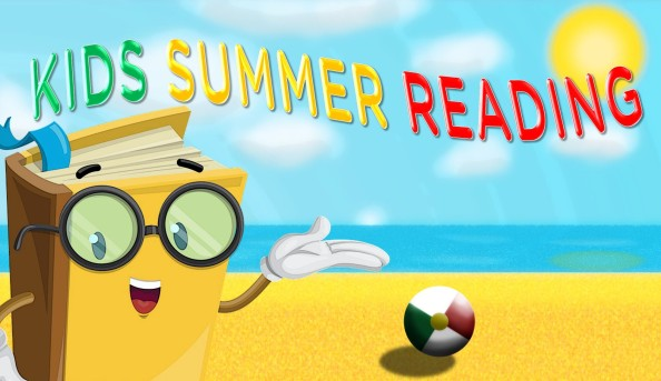 The words Kids Summer Reading appears in green yellow and red letters respectively. There is a personified book presenting the title on the beach with a beach ball behind him.