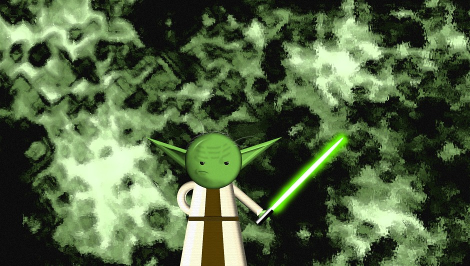 A depiction of Yoda from the Star Wars franchise. He is standing with his glowing light saber as if he's ready for battle.