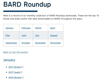 A screenshot of the top of the BARD Roundup Webpage.