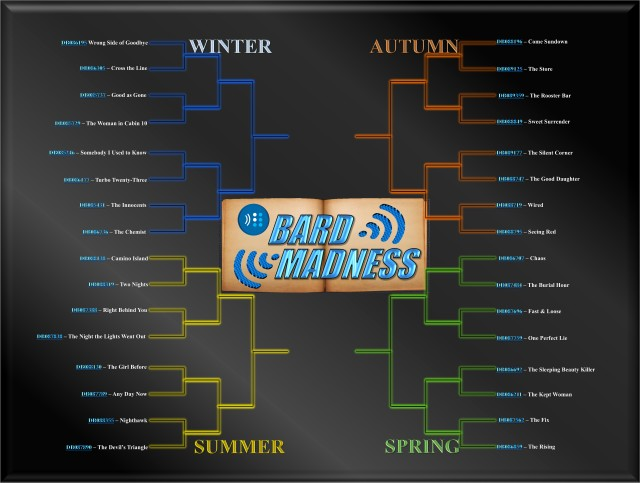 The full bracket with the four seasons and 32 remaining books matched against each opponent.
