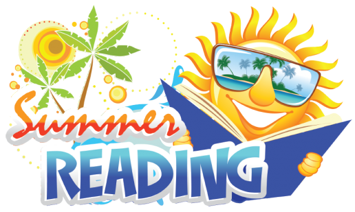 "In a beach-like area, a personified sun is reading a book wearing shades. The text reads, ""Summer Reading"""